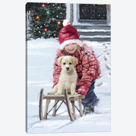 Girl And Puppy Canvas Print #MNS331} by The Macneil Studio Art Print