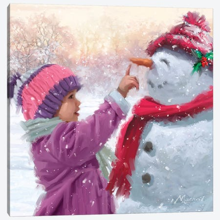 Girl With Snowman Canvas Print #MNS332} by The Macneil Studio Art Print