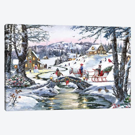 Ice On The Stream Canvas Print #MNS340} by The Macneil Studio Canvas Art