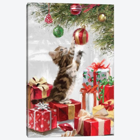 Kitten And Baubble Upright Canvas Print #MNS368} by The Macneil Studio Canvas Artwork