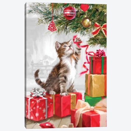 Kitten With Ribbon Canvas Print #MNS372} by The Macneil Studio Canvas Print