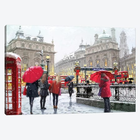 London In Snow Amend Canvas Print #MNS382} by The Macneil Studio Canvas Art