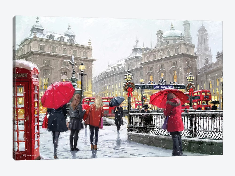 London In Snow Amend by The Macneil Studio 1-piece Canvas Art Print