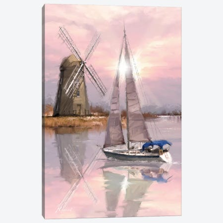 Windmill On The Marsh 3-Piece Canvas #MNS38} by The Macneil Studio Canvas Print