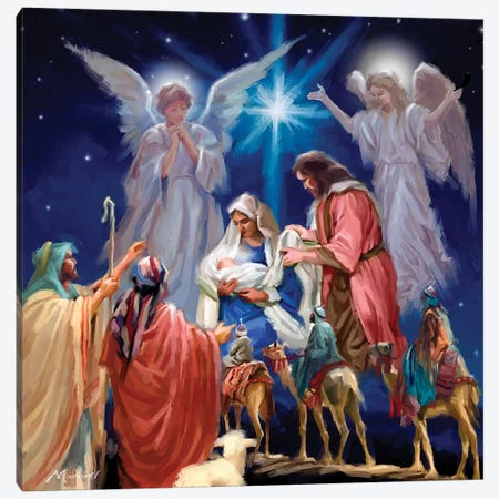 Nativity Collage Canvas Print #MNS405} by The Macneil Studio Canvas Art