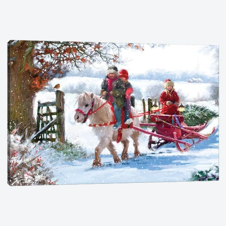Pony Cart II Canvas Print #MNS420} by The Macneil Studio Art Print