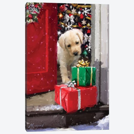 Puppy With Presents Canvas Print #MNS435} by The Macneil Studio Canvas Art Print