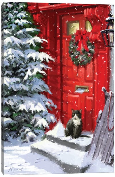 Red Door And Cat Canvas Art Print