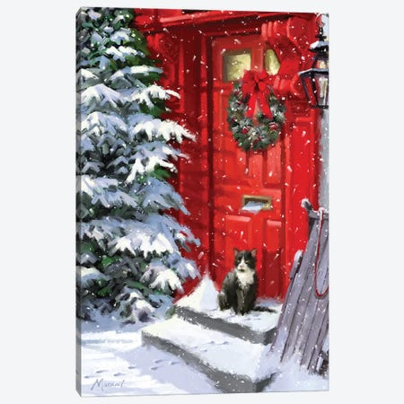 Red Door And Cat Canvas Print #MNS445} by The Macneil Studio Canvas Art