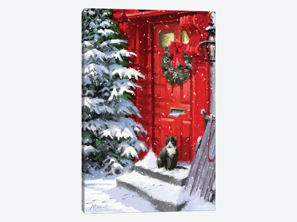 Red Door And Cat by The Macneil Studio 1-piece Art Print