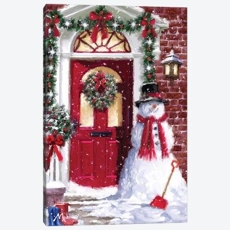 Red Door Snowman Canvas Print #MNS447} by The Macneil Studio Canvas Wall Art