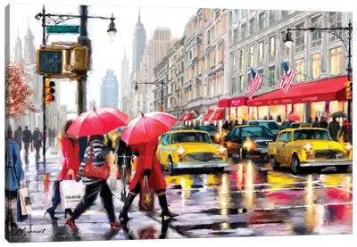 New York Shoppers II Canvas Art Print