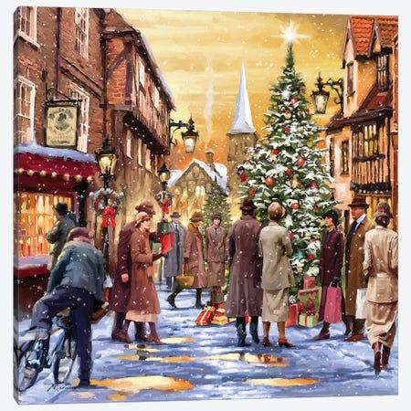 Retro Christmas Canvas Print #MNS454} by The Macneil Studio Art Print