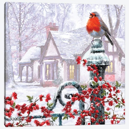 Robin On Gatepost Canvas Print #MNS471} by The Macneil Studio Canvas Wall Art