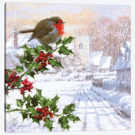 Robin On Holly II Canvas Print #MNS474} by The Macneil Studio Art Print