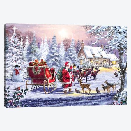 Santa And Animals Canvas Print #MNS501} by The Macneil Studio Canvas Art