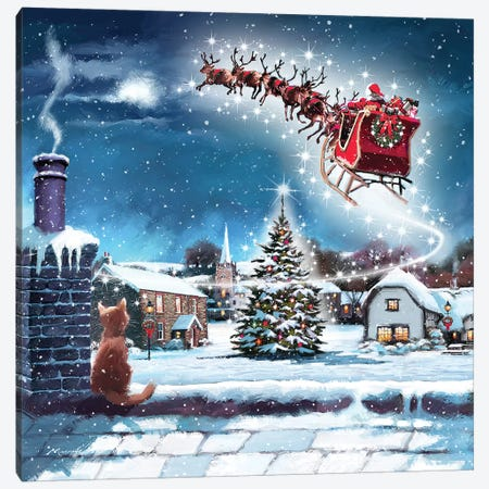 Santa And Cat Canvas Print #MNS503} by The Macneil Studio Canvas Wall Art