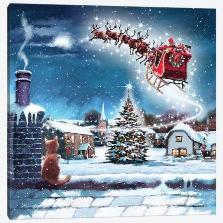Santa And Cat Canvas Print #MNS503} by The Macneil Studio Canvas Wall Art