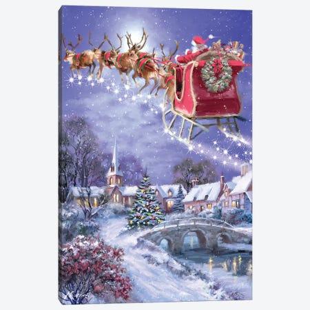 Santa And Sleigh Canvas Print #MNS508} by The Macneil Studio Canvas Artwork