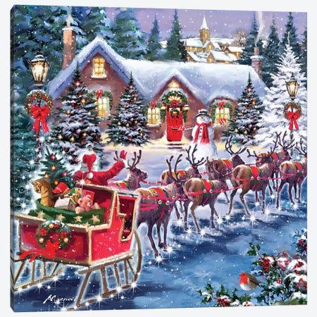Santa And Sleigh Canvas Print #MNS509} by The Macneil Studio Canvas Art