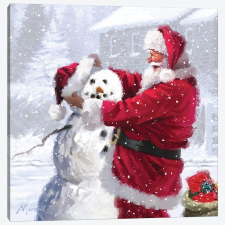 Santa And Snowman Canvas Print #MNS512} by The Macneil Studio Art Print