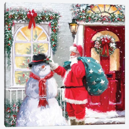 Santa And Snowman Canvas Print #MNS513} by The Macneil Studio Canvas Print