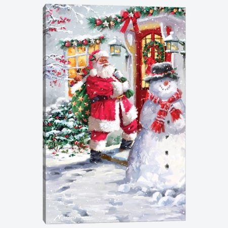 Santa At Door Canvas Print #MNS516} by The Macneil Studio Canvas Art