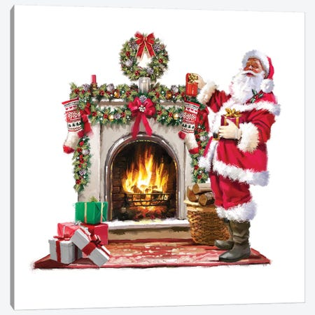 Santa By Fire Canvas Print #MNS517} by The Macneil Studio Canvas Art