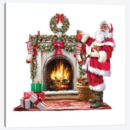 Santa By Fire Canvas Print #MNS517} by The Macneil Studio Canvas Art