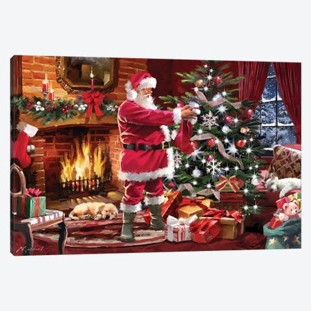 Santa By Fireside Canvas Print #MNS519} by The Macneil Studio Canvas Art Print