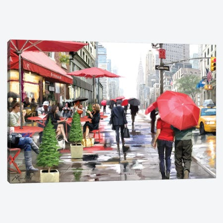 New York Cafe Canvas Print #MNS51} by The Macneil Studio Art Print