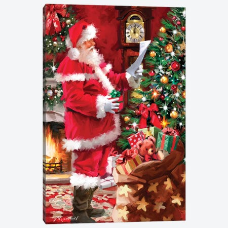 Santa Checking List Canvas Print #MNS520} by The Macneil Studio Canvas Art