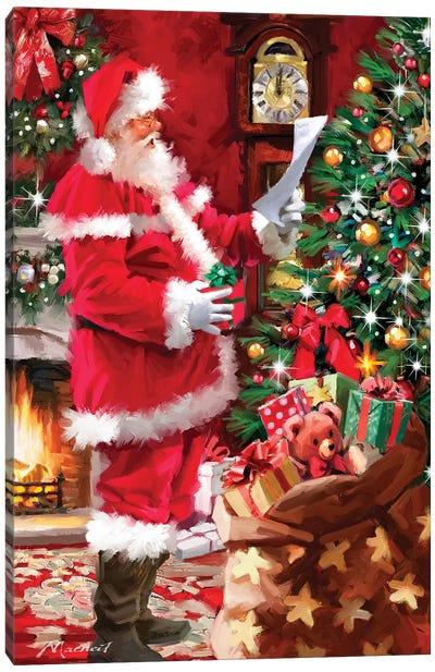 Santa Checking List Canvas Art Print