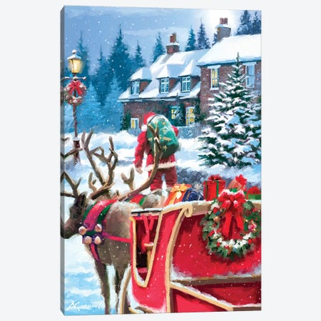 Santa Delivering Canvas Print #MNS522} by The Macneil Studio Canvas Wall Art