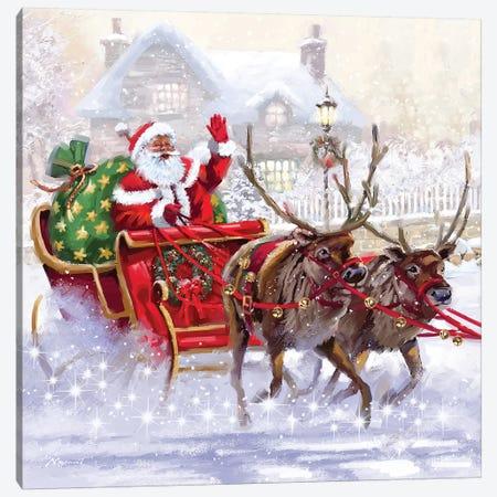 Santa In Sleigh Canvas Print #MNS530} by The Macneil Studio Canvas Art Print