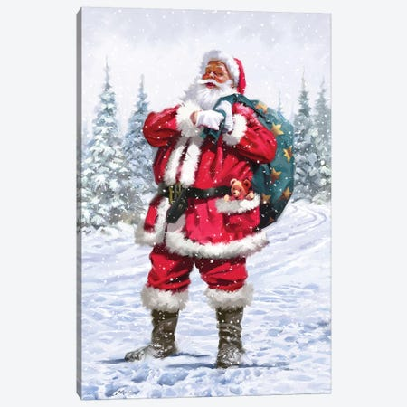 Santa In Snow Canvas Print #MNS532} by The Macneil Studio Canvas Art Print