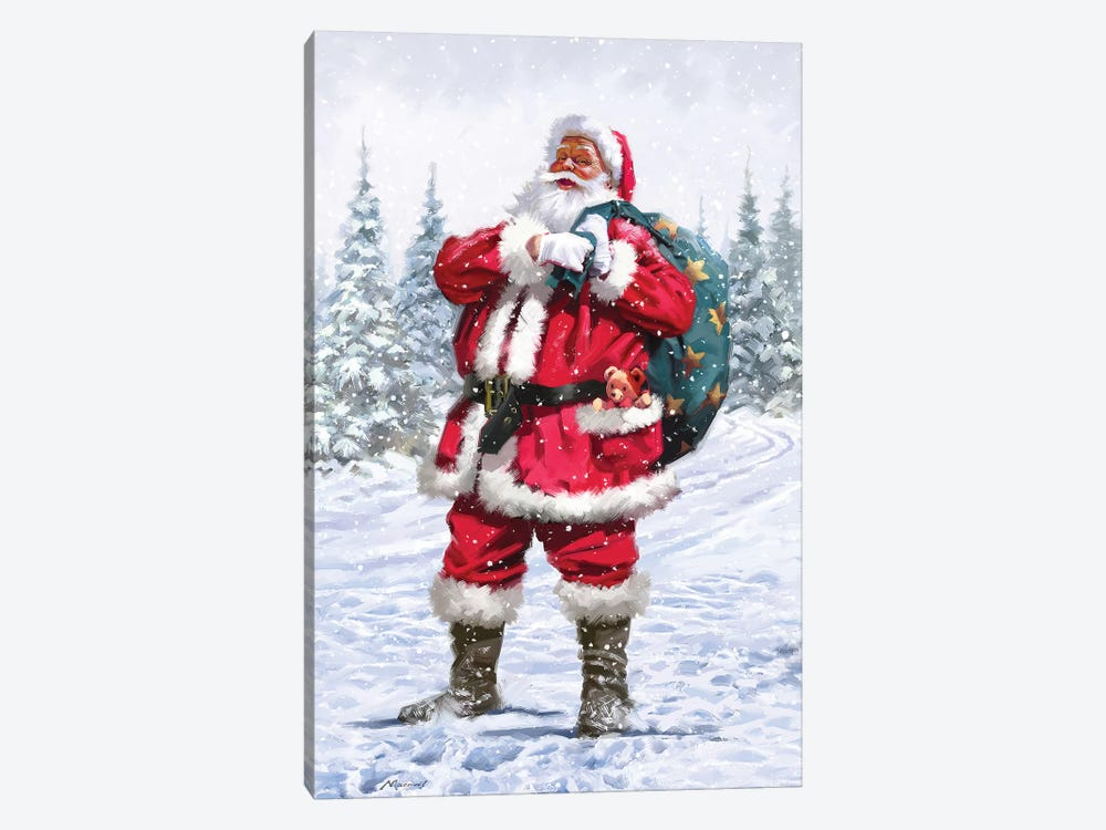 Santa In Snow by The Macneil Studio 1-piece Canvas Wall Art