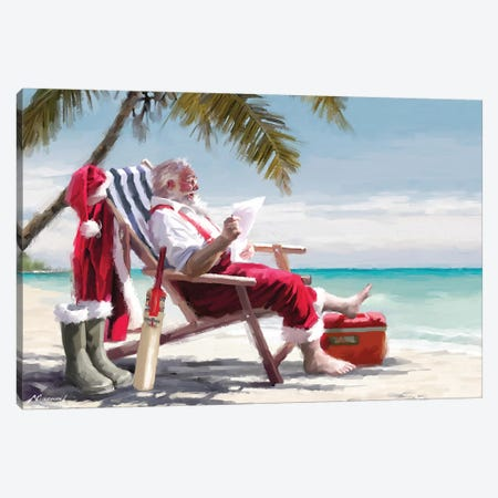 Santa On Beach I Canvas Print #MNS538} by The Macneil Studio Canvas Print
