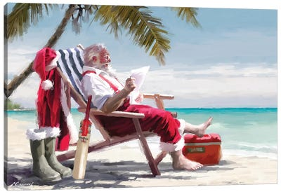 Santa On Beach I Canvas Art Print