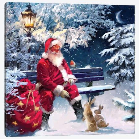 Santa On Bench II Canvas Print #MNS539} by The Macneil Studio Canvas Art Print