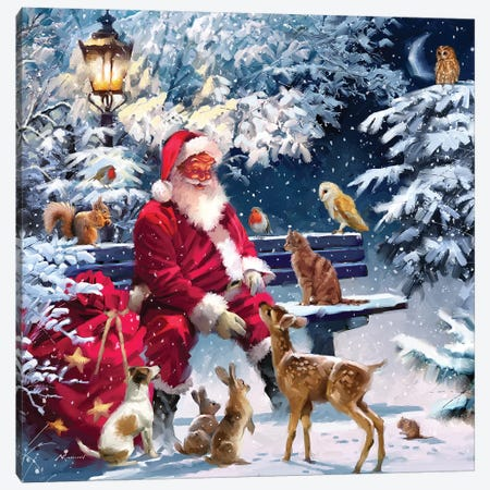 Santa On Bench III Canvas Print #MNS540} by The Macneil Studio Canvas Artwork