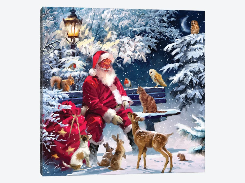 Santa On Bench III by The Macneil Studio 1-piece Art Print