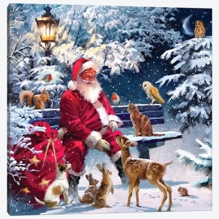 Santa On Bench III Canvas Print #MNS540} by The Macneil Studio Canvas Artwork