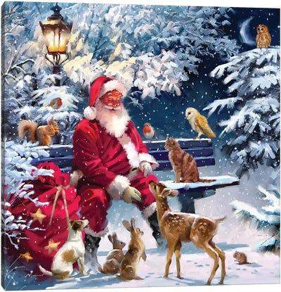 Santa On Bench III Canvas Art Print