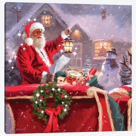 Santa Reading List I Canvas Print #MNS545} by The Macneil Studio Art Print