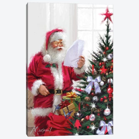 Santa Reading List II Canvas Print #MNS546} by The Macneil Studio Art Print