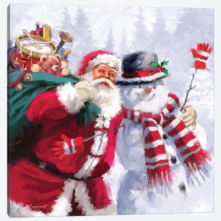 Santa Snowman Canvas Print #MNS548} by The Macneil Studio Canvas Artwork