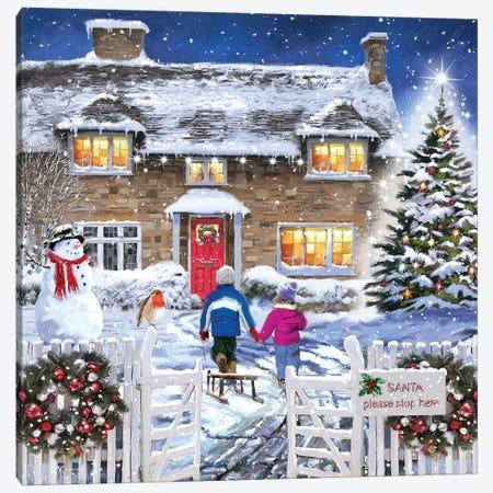 Santa Stop Here Canvas Print #MNS549} by The Macneil Studio Canvas Art