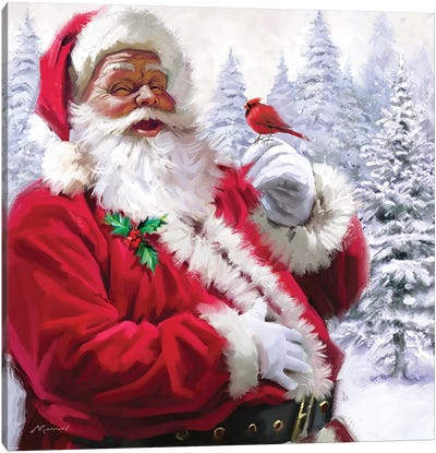 Santa With Cardinal Canvas Art Print