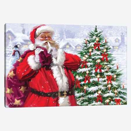 Santa With Christmas Village Canvas Print #MNS554} by The Macneil Studio Canvas Artwork